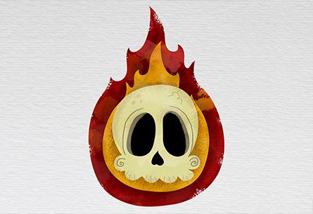 Skull in flames!